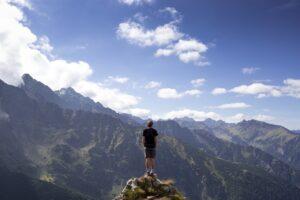 man, top, mountains