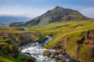 mountain, valley, creek